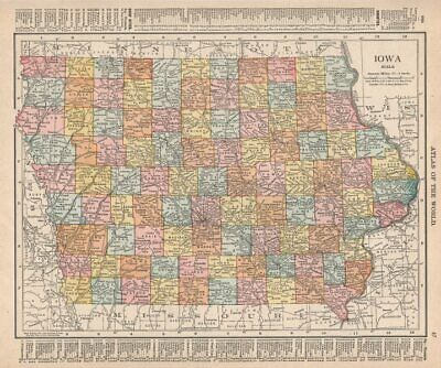 Iowa state map showing counties. RAND MCNALLY 1912 old antique plan chart