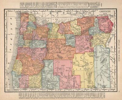 Oregon state map showing counties. RAND MCNALLY 1912 old antique chart