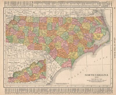 North Carolina state map showing counties. RAND MCNALLY 1912 old antique
