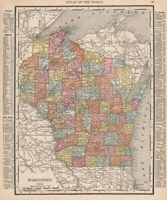 Wisconsin state map showing counties. RAND MCNALLY 1912 old antique chart