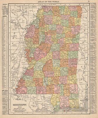 Mississippi state map showing counties. RAND MCNALLY 1912 old antique