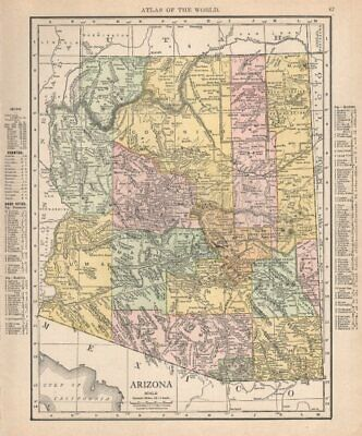 Arizona state map showing counties. RAND MCNALLY 1912 old antique chart
