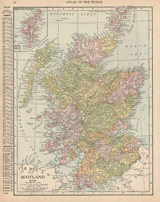 Scotland in counties. RAND MCNALLY 1912 old antique vintage map plan chart