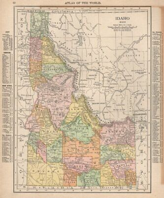 Idaho state map showing counties. RAND MCNALLY 1912 old antique plan chart