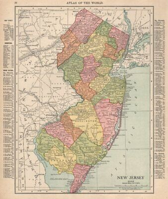 New Jersey state map showing counties. RAND MCNALLY 1912 old antique chart