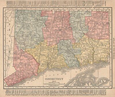 Connecticut state map showing counties. RAND MCNALLY 1912 old antique