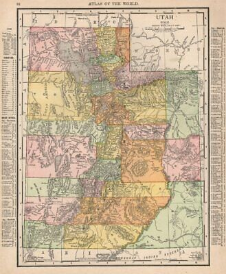 Utah state map showing counties. RAND MCNALLY 1912 old antique plan chart