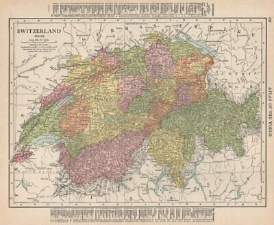 Switzerland in cantons. RAND MCNALLY 1912 old antique vintage map plan chart
