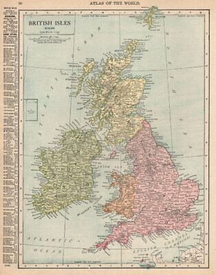 British Isles. England Ireland Scotland Wales. RAND MCNALLY 1912 old map