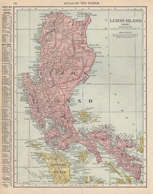 LUZON ISLAND. Philippines. RAND MCNALLY 1912 old antique map plan chart