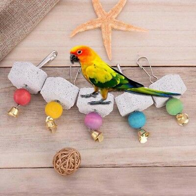 Pet birds parrot mouth grinding stone molars stone hanging string chewing toyES
