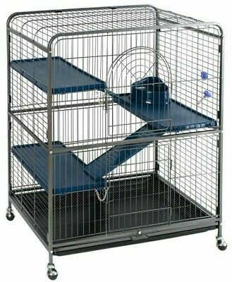 Small Rat Ferret Cage Chinchilla Squirrel House Pet Safety Home Metal W Wheels