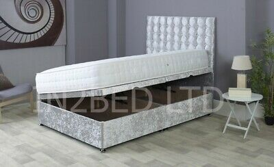 4Ft Small Double Storage Ottoman Side Lifting Divan Bed Crushed Velvet