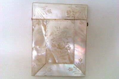 Rare & Beautifully Engraved Mother Of Pearl Victorian Card Case c1891