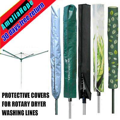 Protective Cover Rotary Dryer Washing Lines Outdoor Clothes Airer Zip Closed End
