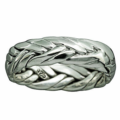 Braid Band Twisted Rope Ring 925 Solid Sterling Silver 7mm - BELDIAMO