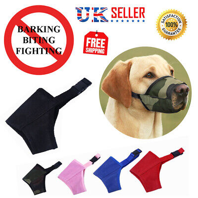 Dog Safety Muzzle Adjustable Muzzel Biting Barking Chewing Small Medium Large UK