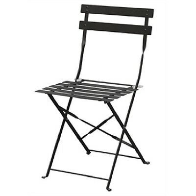 Bolero Black Pavement Style Steel Folding Chairs (Pack of 2)  Patio Cafe GH553