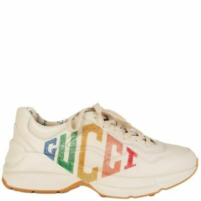 170f7fd01 58069 auth GUCCI off-white leather RHYTON GLITTER Sneakers Flats Shoes 38