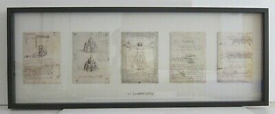 Leonardo da Vinci 5 Framed Lithographs Vitruvian Man Flying Machine Framed 15x41