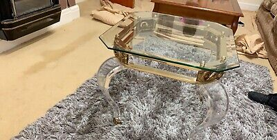 Antique Golden Coffee Glass Table