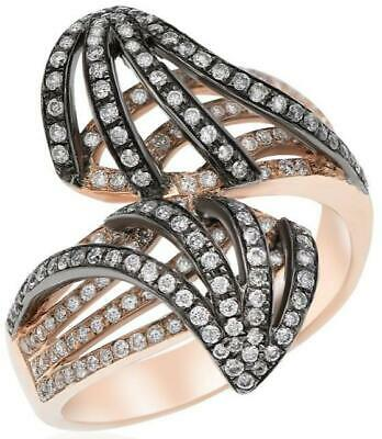 Large .85Ct Diamond 14K Black & Rose Gold Multi Row Double Leaf Criss Cross Ring