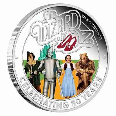 2019 Tuvalu $ 1 oz Silver Proof Coin The Wizard of Oz 80 Years Perth Mint