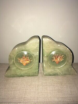Vintage Possibly Art Deco Alabaster Bookends Green Marble Look English Made
