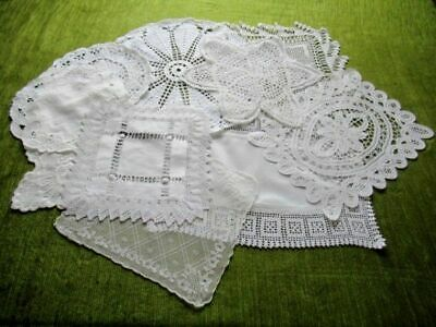 VINTAGE/ANTIQUE MATS-CROCHET/LACE/EMBROIDERED Col.10  WHITE