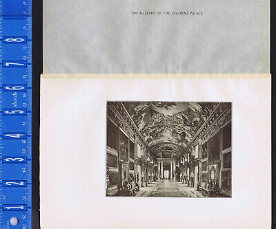 The Gallery of the Colonna Palace, Rome -1907 Antique Italy Print