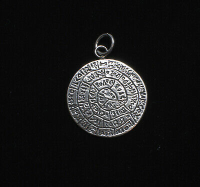 Minoan Phaistos Disc 925 Sterling Silver Greek Art  Handmade 2.6cm