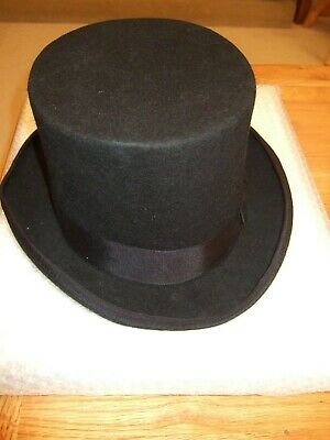 Black Top Hat by Asos for Wedding/Races with White silk lining circumference56cm