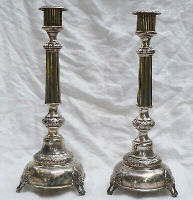 Pair Imperial Russian 84 Silver Candle Sticks 13 Inch First Kokoshnik Mark