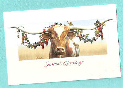 Texas Christmas Cards.Texas Longhorn Cattle Cow Embossed Christmas Cards Box Of 16 Made Us Juan Vela
