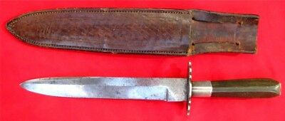 RARE & UNIQUE ANTIQUE SILVER MOUNTED CALIFORNIA GOLDRUSH BOWIE KNIFE EARLY 1850s