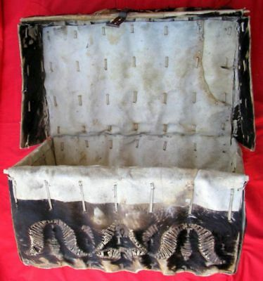 FINE & RARE DECORATOR SPANISH COLONIAL LATE 1700s ~ EARLY 1800s HIDE CHEST