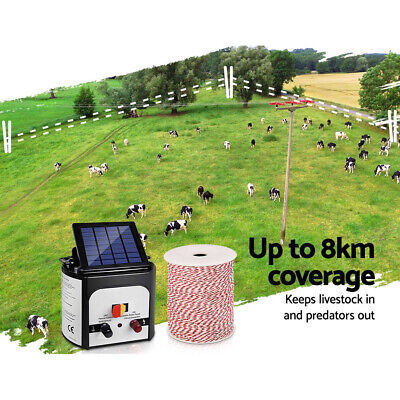 8km Solar Electric Fence Energizer Charger with 500M Tape 25pcs Insulators Set