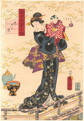 Genuine original Japanese woodblock print Toyokuni 3 Genji Beauty Holding Doll