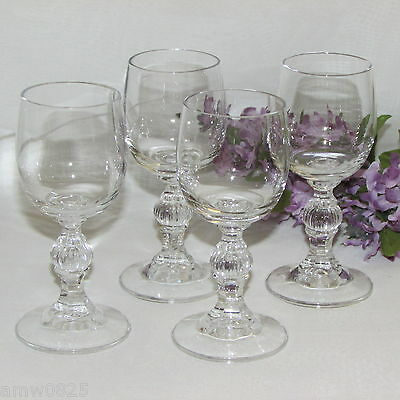 LIQUEUR GLASSES SET OF 4 CORDIAL 2 oz GOBLETS BALL STEM WITH VERTICAL LINES