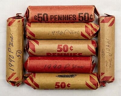 Lot of 7 - 1990 Lincoln Memorial Cent Roll - 350 Coins - BU