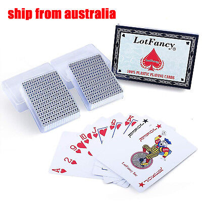 2 Packs Waterproof Playing Cards Poker Size Plastic Decks Card Table Games Deck