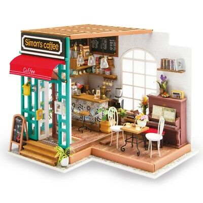 Rolife Miniature DIY Dollhouse with Furniture Wooden Cafe Shop for Children Gift