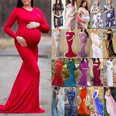 Women Maternity Maxi Gown Pregnant Party Dress Photography Photo Shoot Props