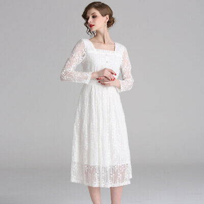 Women Retro Button Big Swing Vogue Long Sleeve Lace Hollow Out Leisure Dress Hot