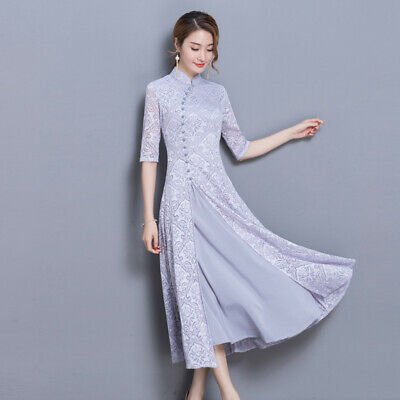 Chines Style Womens Dress Print Thin Long Skirt Lace Ball Gown Full Length Vogue
