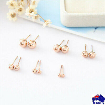 New 18K Rose Gold Filled Solid Round Ball Beads Cartilage Piercing Stud Earrings