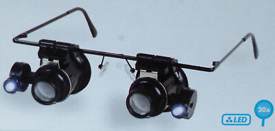 LIGHTHOUSE BINOKEL MAGNIFIER SPECTACLES with 2 EYEPIECES 20x Magnification