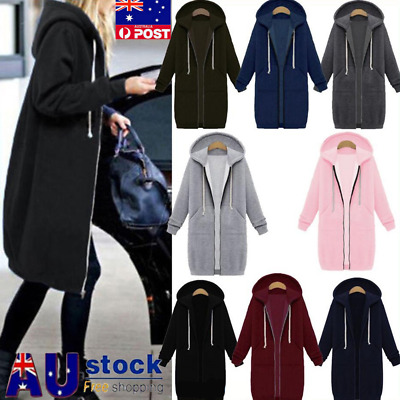 Plus Size Winter Womens Zip Up Long Hooded Hoodie Ladies Warm Coat Top Jacket AU