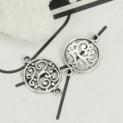 100Pcs Antique Silver Filigree Flower Hollow Round Jewelry Connector Accessories
