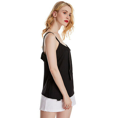 Womens Lady Double Strappy Vest Summer Casual Deep Neck Sleeveless Shirts LC